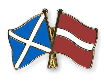 Special Offer Crossed Flag Pins Scotland-Latvia