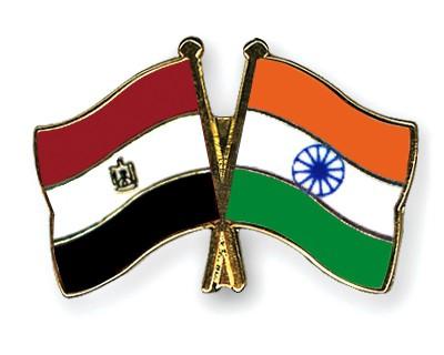 Crossed Flag Pins Egypt-India