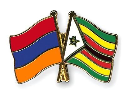 Crossed Flag Pins Armenia-Zimbabwe