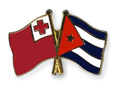Crossed Flag Pins Tonga-Cuba