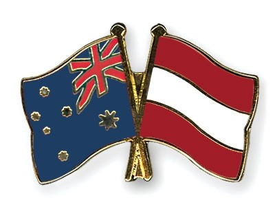 Special Offer Crossed Flag Pins Australia-Austria