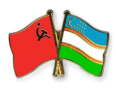 Crossed Flag Pins USSR-Uzbekistan