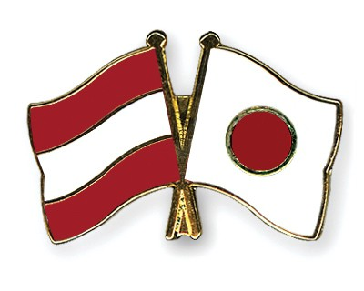 Special Offer Crossed Flag Pins Austria-Japan