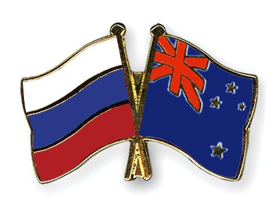 Crossed Flag Pins Russia-New-Zealand