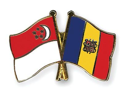 Crossed Flag Pins Singapore-Andorra