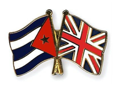 Crossed Flag Pins Cuba-Great-Britain