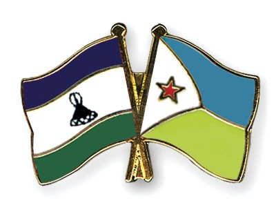 Crossed Flag Pins Lesotho-Djibouti