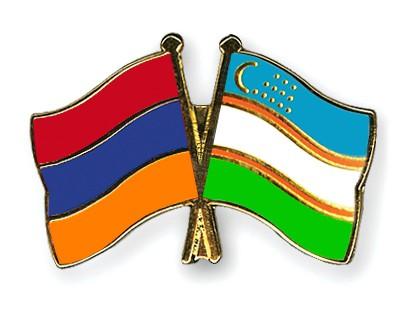 Crossed Flag Pins Armenia-Uzbekistan