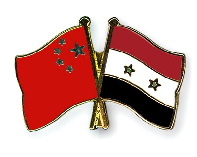 Crossed Flag Pins China-Syria