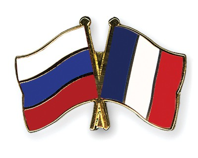 Crossed Flag Pins Russia-France