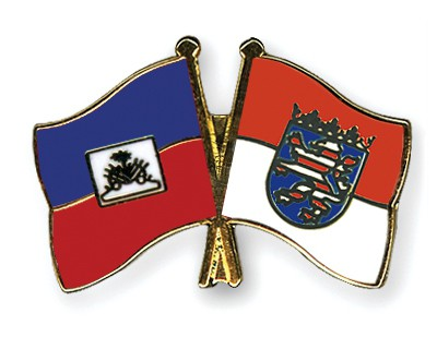 Crossed Flag Pins Haiti-Hesse