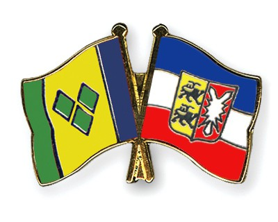 Crossed Flag Pins Saint-Vincent-and-the-Grenadines-Schleswig-Holstein