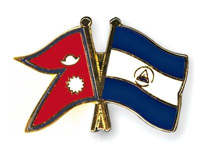 Crossed Flag Pins Nepal-Nicaragua