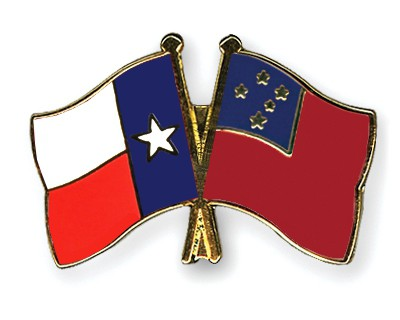 Crossed Flag Pins Texas-Samoa