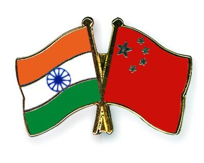 Crossed Flag Pins India-China