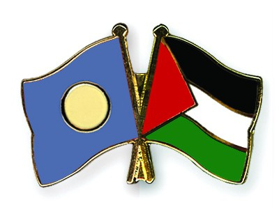 Crossed Flag Pins Palau-Palestine