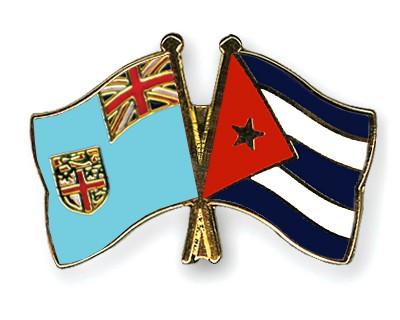 Crossed Flag Pins Fiji-Cuba