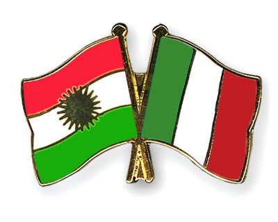 Crossed Flag Pins Kurdistan-Italy