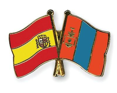 Crossed Flag Pins Spain-Mongolia