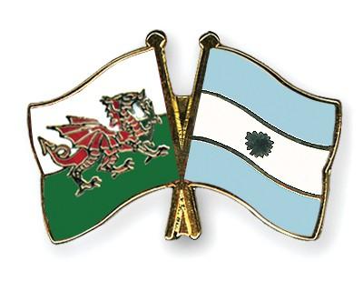 Crossed Flag Pins Wales-Argentina