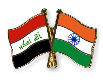 Crossed Flag Pins Iraq-India