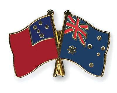 Crossed Flag Pins Samoa-Australia