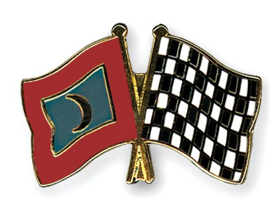 Crossed Flag Pins Maldives-Flag-checkered-black-and-white