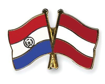 Crossed Flag Pins Paraguay-Austria