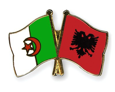 Crossed Flag Pins Algeria-Albania