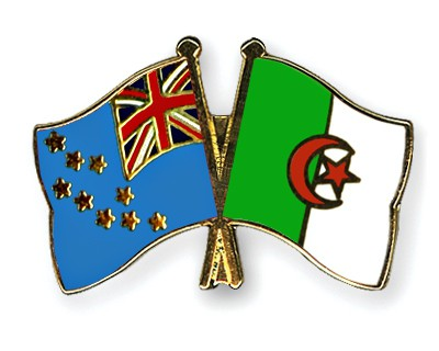 Crossed Flag Pins Tuvalu-Algeria