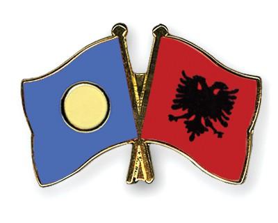 Crossed Flag Pins Palau-Albania