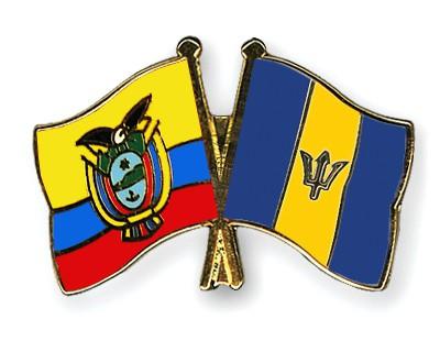 Crossed Flag Pins Ecuador-Barbados