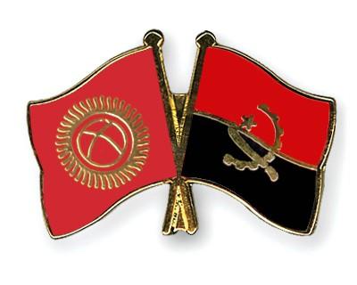 Crossed Flag Pins Kyrgyzstan-Angola
