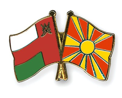 Crossed Flag Pins Oman-Macedonia