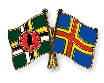 Crossed Flag Pins Dominica-Aland