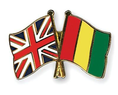 Crossed Flag Pins Great-Britain-Guinea