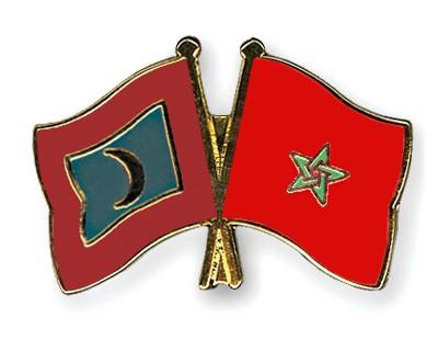 Crossed Flag Pins Maldives-Morocco
