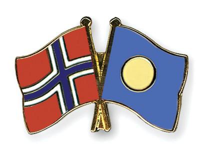 Crossed Flag Pins Norway-Palau