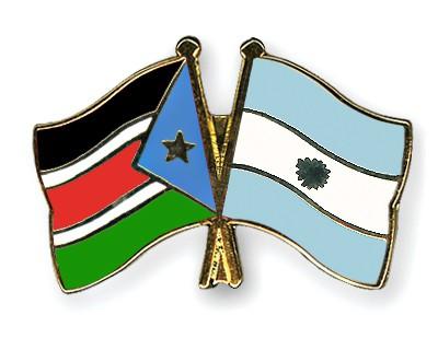 Crossed Flag Pins South-Sudan-Argentina