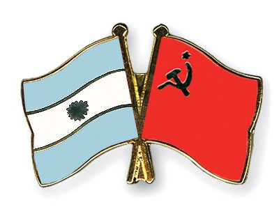 Crossed Flag Pins Argentina-USSR