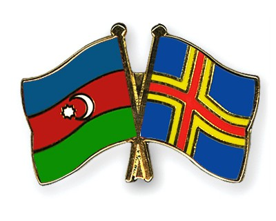 Crossed Flag Pins Azerbaijan-Aland