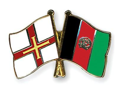 Crossed Flag Pins Guernsey-Afghanistan