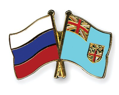 Crossed Flag Pins Russia-Fiji