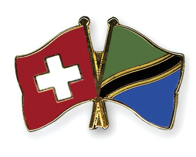 Crossed Flag Pins Switzerland-Tanzania