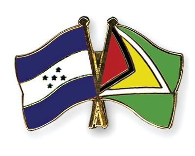 Crossed Flag Pins Honduras-Guyana