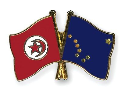 Crossed Flag Pins Tunisia-Alaska