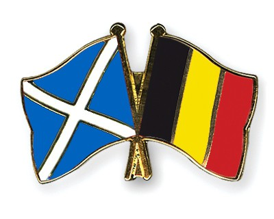 Special Offer Crossed Flag Pins Scotland-Belgium