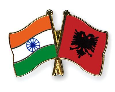 Crossed Flag Pins India-Albania