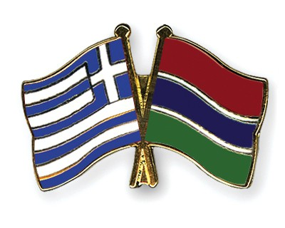 Crossed Flag Pins Greece-Gambia