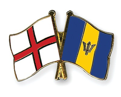 Crossed Flag Pins England-Barbados